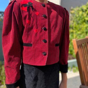 Vintage 90's red & black dress Skirt suit Xs small